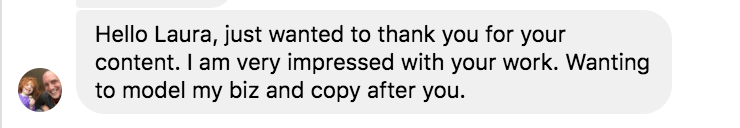 testimonial about copy from a new fan