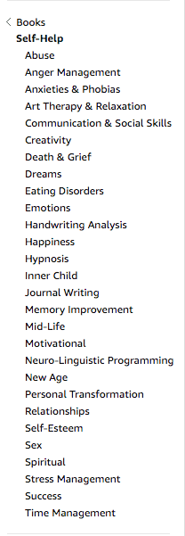 self help subcategories