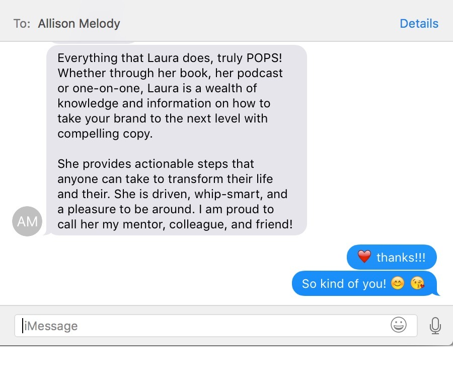 copywriting testimonial from allison melody about laura petersen