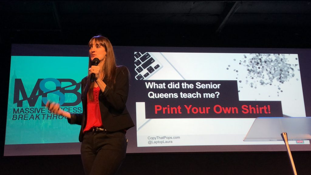 laptop laura petersen on stage with mission to print your own shirt