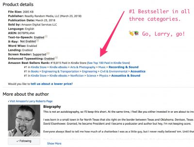 larry roberts #1 bestseller in all three book categories united states