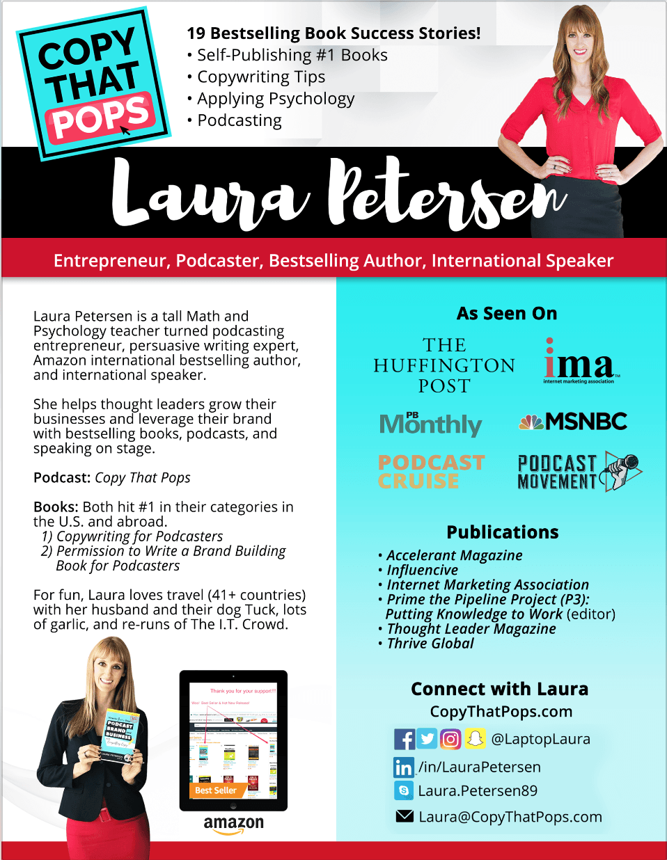 laura petersen 1-sheeter about me - podcasting speaking