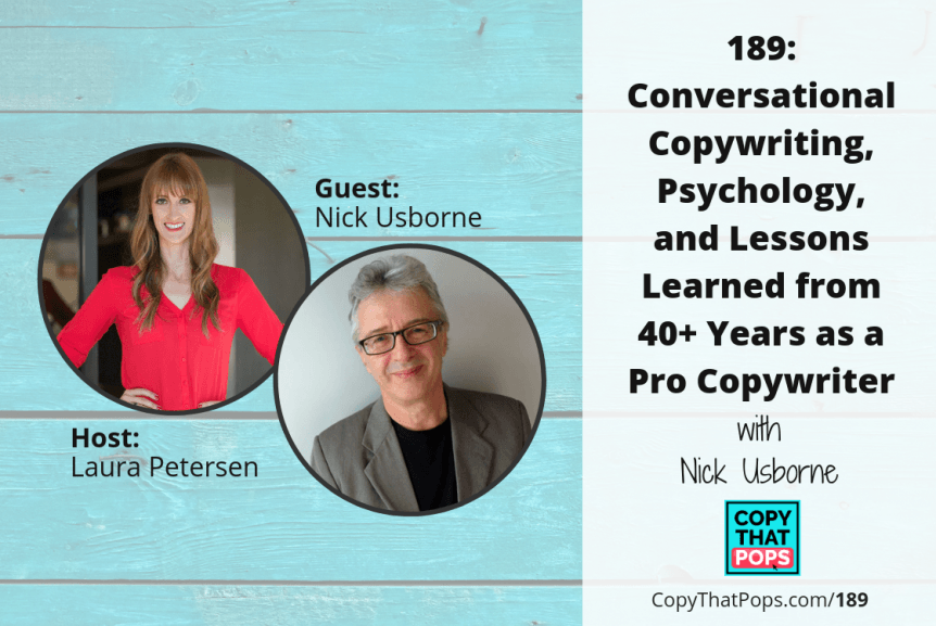Copy That Pops podcast episode 189 with Nick Usborne on conversational copywriting