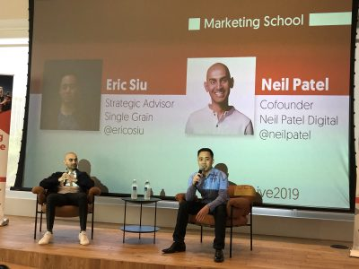 neil patel and eric siu from marketing school live
